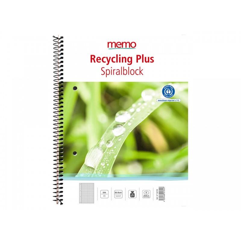 Cuaderno reciclado A5, con espiral lateral. (1ud)