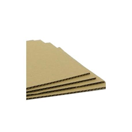 Plancha de cartón microcanal Kraft. 100x100cm.